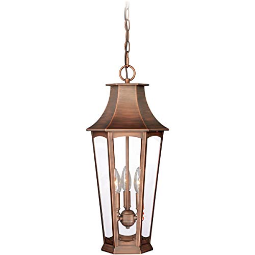 Outdoor Pendant 3 Light Fixtures with Brushed Copper Finish Steel Material Candelabra 10