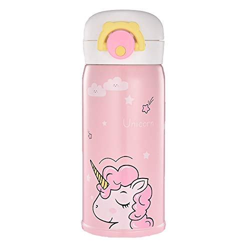 Girl Bottle - Unicorn Stainless Steel Thermos for Girls, Cute Water Bottle Cup for Indoor and Outdoor Occasion, Insulated Leak Proof Vacuum Cup Flask for Kids(12 oz Pink)