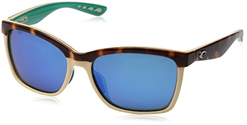 Costa del Mar Women's Anna Polarized Iridium Square Sunglasses, Shiny Retro Tort/Cream/Mint, 55.4 - Case Costa Sunglass