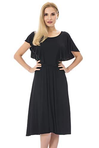 Bearsland Women's Summer Floral Cloak Design Maternity Breastfeeding Dress Nursing Dress,pureblack,L