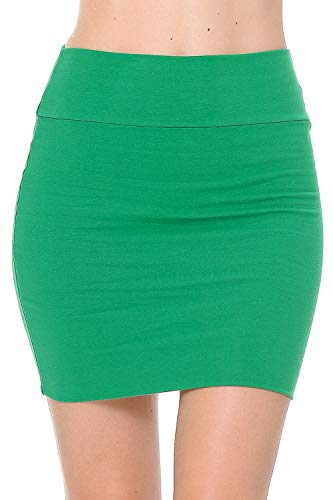 Fashion Aktiv Basic Double-Layer Cotton Simple Stretchy Tube Pencil Mini Skirt (Large, Kelly Green)