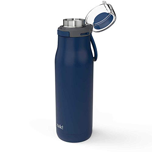 (Zak Designs Kiona Double Wall Vacuum Insulated Stainless Steel Water Bottle with Push Button Action and Locking Lid, Includes Portable Carry Loop and Leak-Proof Design (20oz, Indigo, 18/8, BPA Free))