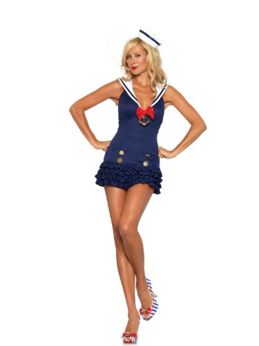 Sexy Sailors Costumes (Leg Avenue Women's 2 Piece Sweetheart Sailor Ruffle Bottom Dress And Hat,Blue,Small/Medium)