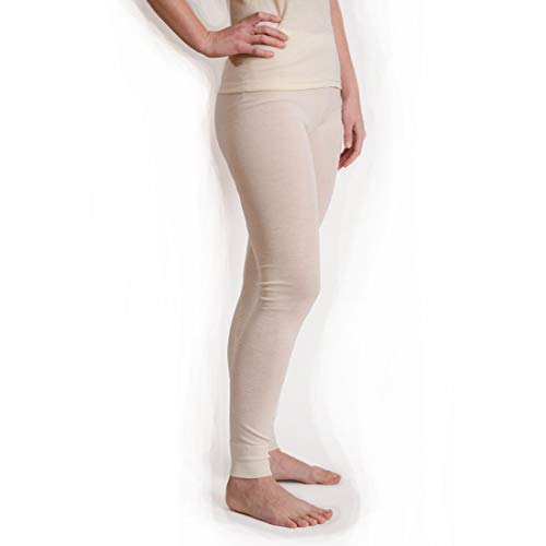Long Natural Wool (Hocosa Women's Long-Underwear Pants in Wool-Silk Blend (46/US 16, Natural White))