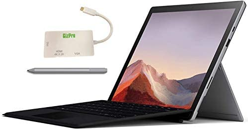 "Microsoft Surface Pro 7 Bundle – 12.3"" Touch - Intel i7-Tenth Gen 16GB Ram - 512GB SSD–Platinum– Windows Pro - Bundle: Microsoft Surface Pen Platinum, Microsoft Type Cover Black & GIZPRO USB-C Dock"