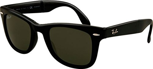 Ray-Ban Folding Wayfarer Sunglasses (RB4105 54) Black/Green Plastic,Nylon - Polarized - - Foldable Wayfarer