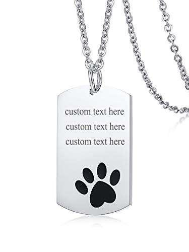 MEALGUET Personalized Your Loved Pet Stainless Steel Polished Dog Pet Paw Print Dog Tag Pendant Necklace with 24