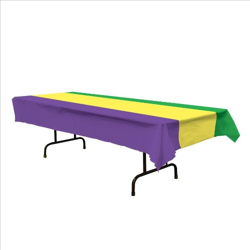 Mardi Gras Table Cover (Mardi Gras Tablecover (golden-yellow, green, purple) Party Accessory  (1 count) (1/Pkg) 54