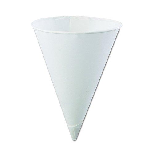 Konie 45KR Rolled-Rim Paper Cone Cups, 4.5oz, White, 200 Per Bag (Case of 25 Bags)
