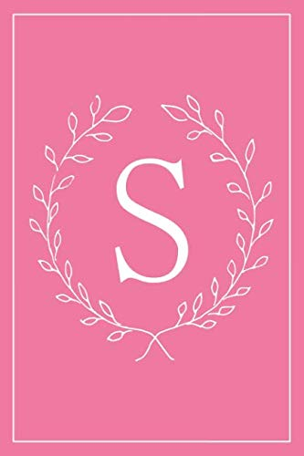 S: Hot Pink Monogram Initial Blank Lined Journal Notebook for Women and Girls Pre-Teens and Up