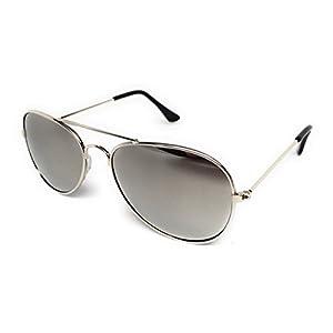 WebDeals - Children's Little Kids Classic Aviator Sunglasses Cool Retro Style Age 2-5 (Silver, Mirror)