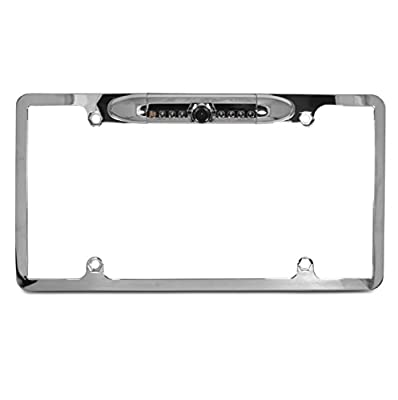 Waterproof High Sensitive Color Chrome Aluminum Alloy Universal Car License Plate - back up camera