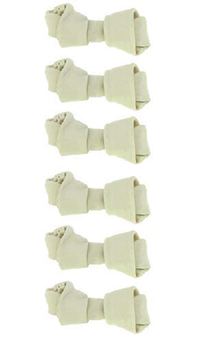 Dog rawhide bones Bulk pack of 6 natural rawhide protein treats knot bone chews Small For Sale