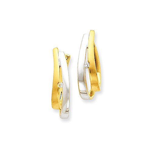 Rhodium Diamond Hinged Earrings (14k Yellow Gold Rhodium Diamond Hinged Earrings)