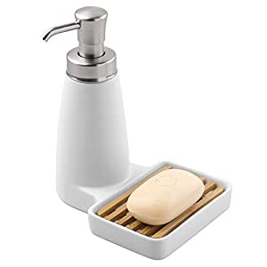 InterDesign Benton Soap Dispenser Pump with Sponge Tray - Kitchen Sink Organizer, White/Natural/Brushed