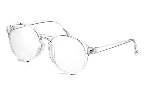 PenSee Oversized Circle Eyeglasses Frame Inspired Horned Rim Clear Lens Glasses - Circle Glasses For Face