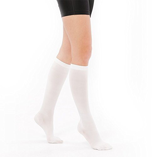 Fytto 1050 Compression Socks Graduated 15-20mmHg,Men-Women Circulatory Knee High,White,Size M