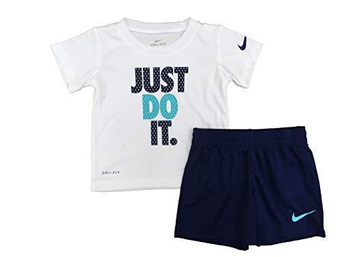 Nike Boy`s Dri-Fit T-Shirt & Shorts 2 Piece Set (Blue Void(66C184-U9J)/White, 12 Months)