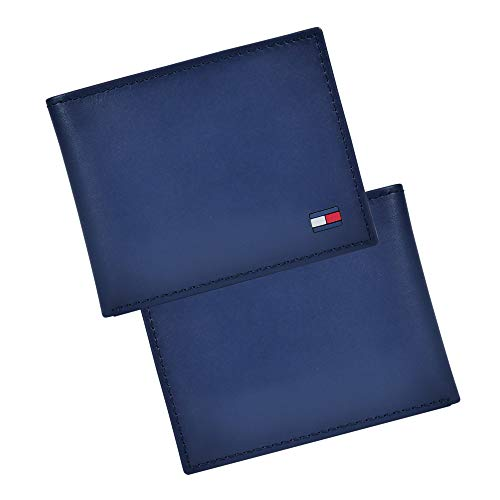 Tommy Hilfiger Men's Leather Wallet – Slim Bifold with 6 Credit Card Pockets and Removable Id Window, Navy Dore, One… 4