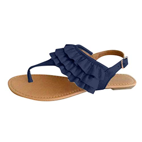 (Casual Beach Sandals Women's Open-Toe Flats Clip-Toe Ankle Buckle Summer Shoes Blue)