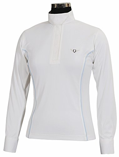 Ladies Show Shirt - TuffRider Women's Kirby Kwik Dry Long Sleeve Show Shirt, White/Glacier Blue, Small