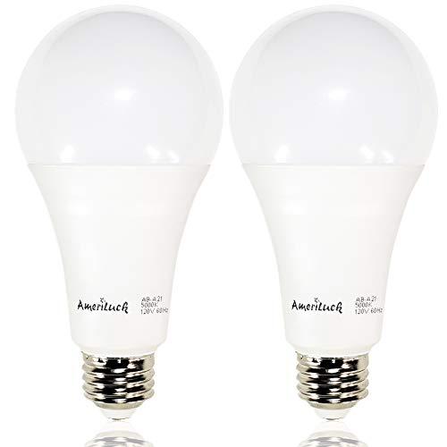 3-WAY 50/100/150W Equivalent A21 LED Bulb 800/1500/2200lumens Daylight 5000K, 2 Pack