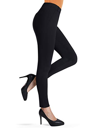 Bamans Ultra Stretch Comfy Yoga Pants, Beltloops, Simulated Pockets, Office Skinny Dress Yoga Pants, Workout Yoga Leggings, Black M