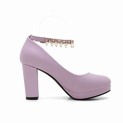 Shoes Charm Mee Damen Blockabsatz Plattform Lila Pumps 0BqTxHq