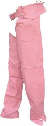 Lined Hip Hugger - Ladies Lined PINK Hip-Hugger Chaps, Cowhide Leather
