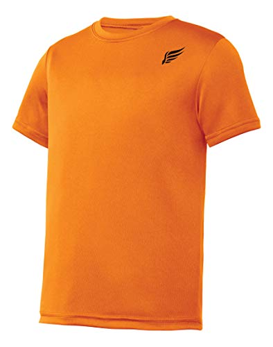 MI Falcon Boys' Top Performance T-Shirt Neon Orange Youth X-Large (18-20)