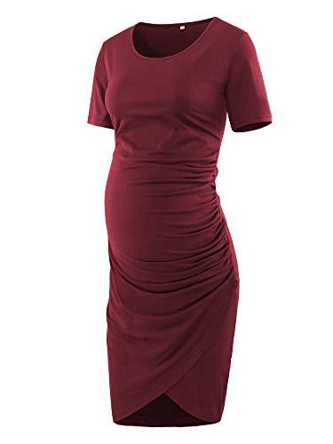 (Love2Mi Women Short Sleeve Maternity Tulip Midi Dress Crew Neck Wrap Hem Fitted Dress Wine Red)