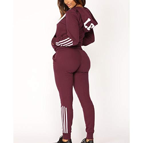 Casual Womens Hoodies Stripe Zipper Long Sleeves Pullover Sport Tops+Long Tracksuit Sweatshirt Pants Set by iLUGU (Image #1)