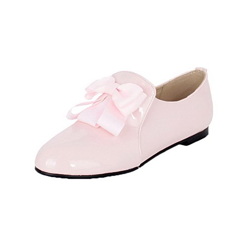 AllhqFashion Womens Patent Leather Pull-On No-Heel Solid Pumps-Shoes Pink ytwKUAe2