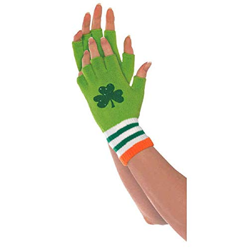 Amscan St. Patrick's Day Irish Fingerless Fabric Gloves, 6 ct. | Party Accessory Green