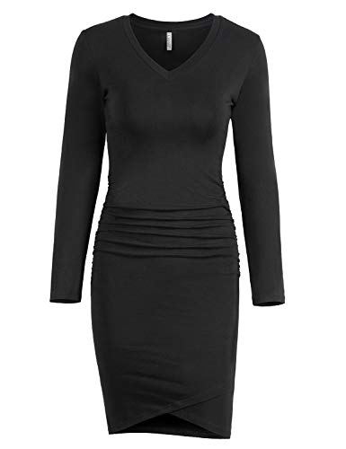 (Liooil Women's Casual Sweetheart Neckline Ruched Details at The Sides Irregular Hem Bodycon Mini Dress (Medium, Black))