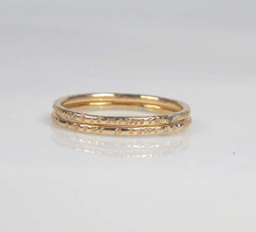 - Thin Gold filled Rings Set of 2, Delicate Tree Bark Rings