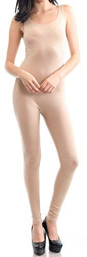 URBAN K WOMENS Sleeveless Unitard Bodysuit,Nude S