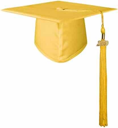 GraduationMall Unisex Adult Matte Graduation Cap with 2019 Tassel