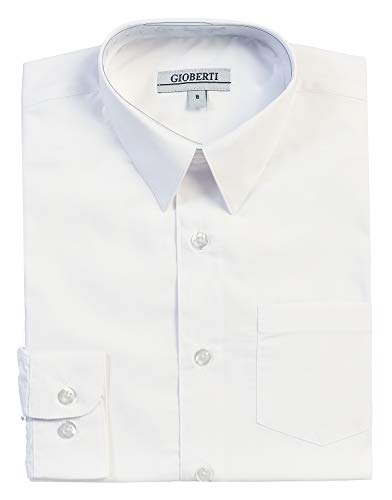 Gioberti Big Boys' Long Sleeve Dress Shirt, White, 16 ()