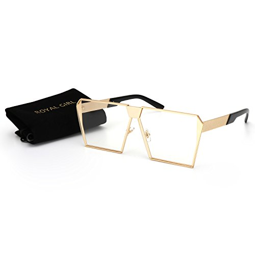 ROYAL GIRL Classic Square Women Sunglasses Retro Oversize Metal Frame Flat Top Sun Glasses (Gold-Clear-Lens, - Girl Thick Glasses