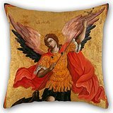 Oil Painting Poulakis Theodoros - The Archangel Michael Pillow Covers 20 X 20 Inch / 50 By 50 Cm For Design Room,chair,kids Room,chair,boys,floor With Double Sides
