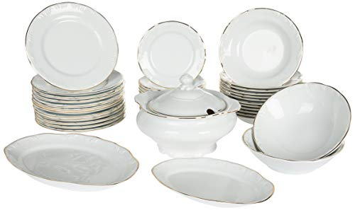 Serviço Jantar, Porcelana Schmidt, Ouro, 41 Peças