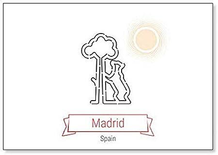 Imán para nevera con ilustración abstracta de Madrid, España: Amazon.es: Hogar