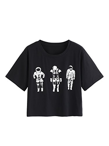 WDIRA Women's Summer Loose Fitting Casual Astronaut Print Tee Crop Top Black XL