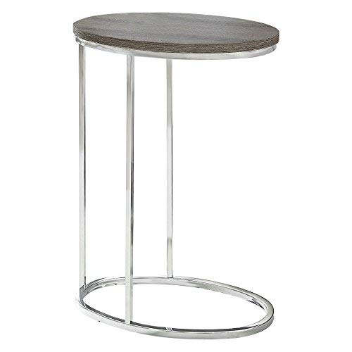"""Monarch Specialties I 3241 Oval/Dark Taupe with Chrome Metal Accent Table, 19"""" L x 12"""" D x 25"""" H"""