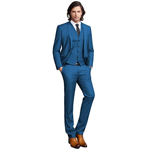 YIMANIE Men's Solid 3-Piece Suit One Button Formal Jacket Pants Vest Set Blazers ()