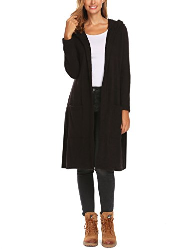 SummerRio Women's Long Sleeve Hooded Knit Open Cardigan Sweater with Pockets