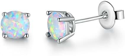 GEMSME Created white Opal 6mm Round Stud Earrings
