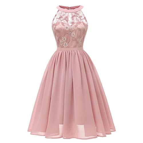 UOFOCO Lace Princess Floral Dress for Women Vintage Cocktail Neckline Party Swing Dress ()