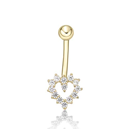 Lavari - 14K Yellow Gold Heart White Cubic Zirconia Belly Button Ring 16 Gauge 12MM